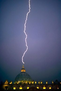 Photo of lightning striking St.Peter's square on the day the Pope announced his resignation.